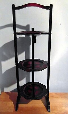Antique Japanese Laquered Folding Cake Stand circa 1900-1910 For Restoration