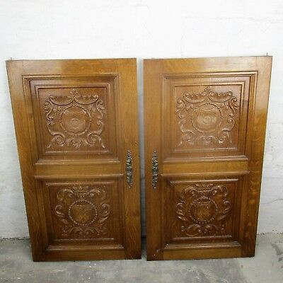 pair Large Antique French Carved Wood Oak Door Panels Reclaimed  Architectural