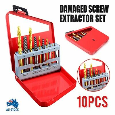 10pcs Easy Out Screw Extractor Set Matched Left Hand Drill Bits Broken Bolt New