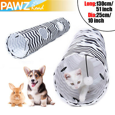 10'' Dia Cat Tunnel 2 Holes Pet Toy Kitten Rabbit Play Funny Tube With Ball