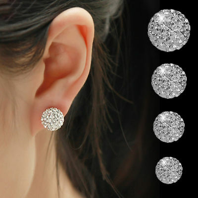 Womens Multi Gem Earrings Crystal Ball 925 Sterling Silver Plated Round Ear Stud