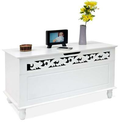 Shabby Chic White Wooden Chest Trunk Cabinet Storage Bench Foldable Lid 100 KG