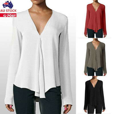 Women V Neck Chiffon Blouse Long Sleeve Casual Loose Ladies Work Tops Shirt