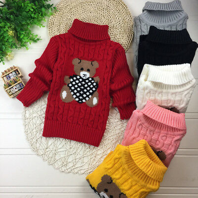 Autumn Winter Baby Girls Kids Infant Cute Bear Warm Knite Sweater Pullover Tops