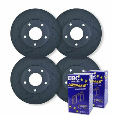 FULL SET DIMPLED SLOTTED DISC BRAKE ROTORS+PADS for Nissan Patrol GU Y61 1997-07
