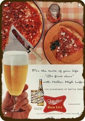 1956 MILLER HIGH LIFE BEER Vintage Look REPLICA METAL SIGN  NEW YORK STYLE PIZZA