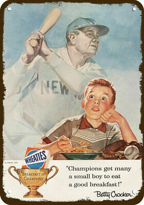 1956 WHEATIES CEREAL Vintage Look REPLICA METAL SIGN  NEW YORK YANKEES BABE RUTH