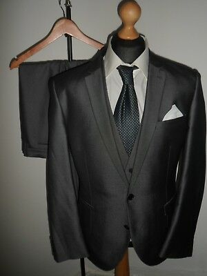 NEXT Mens 3 Piece Sharkskin Tonic Suit Single Breasted Tailored SIZE 46R W38 L32