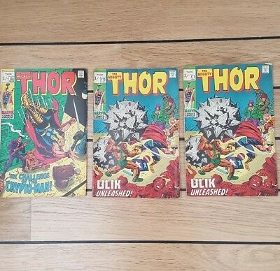 3 x Deadstock Unread. Marvel The Mighty Thor # 173 x 2 & #174 x 1