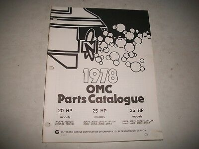 1978 Evinrude & Johnson 20 25 35 Hp Outboard Engine Illustrated  Parts Catalog
