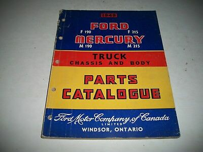 1949 Ford & Mercury Truck Chassis & Body Parts Catalog F190 F215 M190 M215