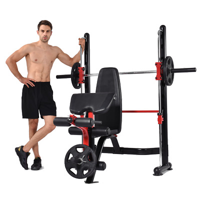 Maxam® Smx-50 Smith Machine Cage Bench Home Gym Multi Stack Rack Barbell Bar