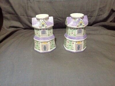 """The Lenox Village """"Candlesticks"""" Set of Candle Holders from 1997"""