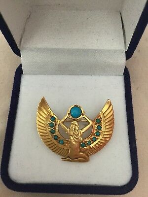 Gorgeous Rare Egyptian Stamped18K Solid Yellow Gold,Turquois WINGED ISIS Brooch