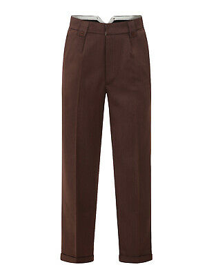 Mens 1940s Swing Vintage Style Brown Fishtail Look Trousers With Turn Up Hems