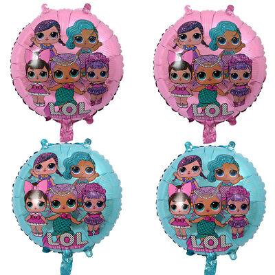 "4x LOL Surprise Balloons Kids Birthday Party Favor 18"" Foil  Balloons Blue Pink"