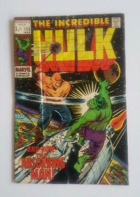 The Incredible Hulk #125  Marvel March 1970 The Absorbing Man. Unread Comic.