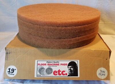 "ETC Floor Machine (Vacuum Cleaner) 19"" Tan Buffer Pads 5/Case New Old Stock"