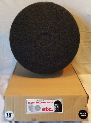 "ETC Floor Machine (Vacuum Cleaner) 18"" Black Strip Pads Quantity 4 New Old Stock"