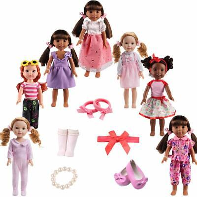 TSQSZ 7Sets Doll Clothes Shoes and Accessories for fit American Dolls 14inch14.5