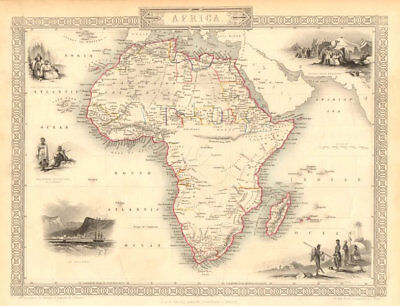AFRICA. Shows Mountains of Kong/the Moon. Caravan routes. RAPKIN/TALLIS 1851 map