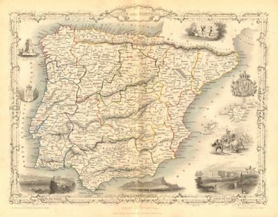 SPAIN & PORTUGAL. Madrid Lisbon Gibraltar views. Iberia RAPKIN/TALLIS c1855 map