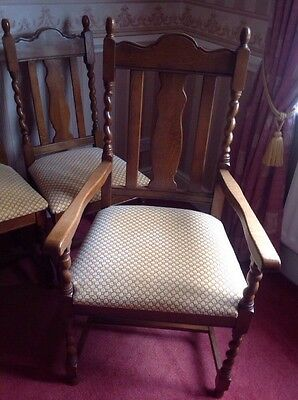 Bespoke Oak Reproduction 4 Dining Chairs & 2 Carver Chairs Gold/Pink Upholstery.