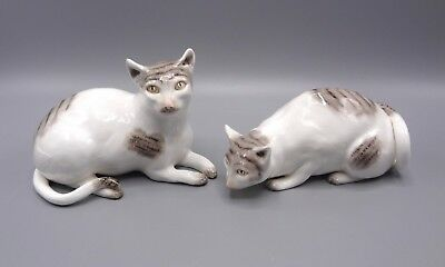 Rare Pair of Hand Painted Porcelain Cats by Sutherland China