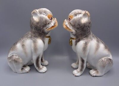 Super Pair of 23 cm Hand Painted Porcelain Pug Dogs by Sutherland China