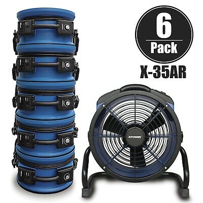 XPOWER X-35AR 1/4 HP High Temperature Sealed Motor Bed Bug Fan Air Mover 6 Pack
