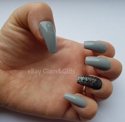24 Hand Painted False Nails - Light Grey & Black Coffin Full Cover Gel Nails Tip