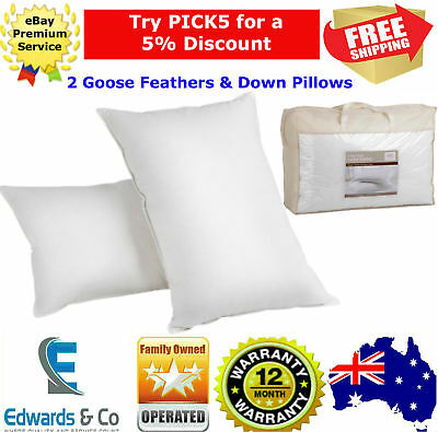 2x Pillows Goose Down Feather 5 Star Bedding Hypo-Allergy Free 100% Cotton Cover