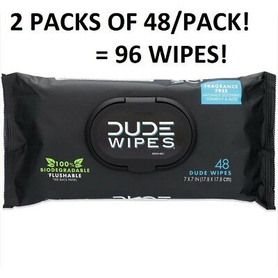 96 DUDE Butt Wipes Flushable Wet 2x48 Count Dispensers Unscented Vitamin-E, Aloe