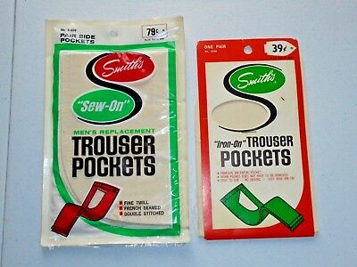 Vintage Smith's Iron On Sew On Trouser Pockets Sewing Repair Crafts Lot