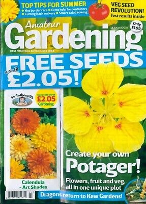 AMATEUR GARDENING MAGAZINE ISSUE 18th AUGUST 2018 WITH FREE SEEDS ~ NEW ~