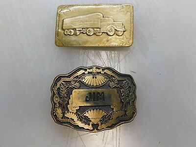 Lot of 2 VINTAGE Brass Belt Buckles Rugged Truck & Ornate Design Oden