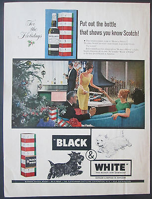 Black and White Scotch Christmas 1961 Original Print Ad Highland Terriers