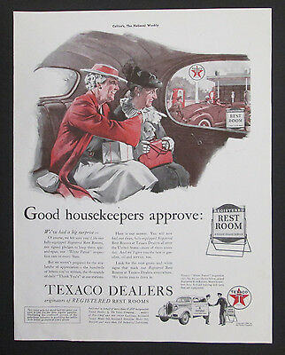 Texaco Dealers Registered Restroom1939 Original Vintage Print Ad