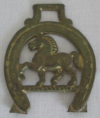 Vintage Horse Brass Medallion Horse within Horse Shoe