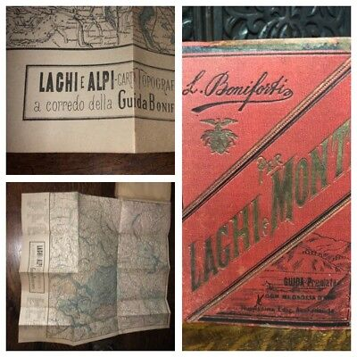1885 L. Boniforti's Laghi e Monti Guida, Antique ITALIAN Travel Guide & Maps Ads