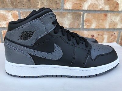 0cf698a39465 Nike Air Jordan 1 Mid Big Kids Basketball Shoes Black White Dark Grey  554725-041