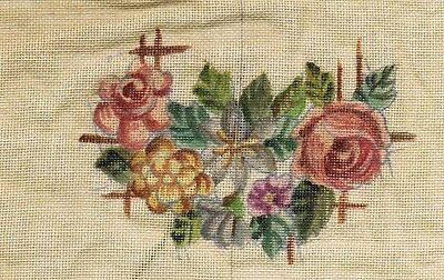 Vintage Flowers Tapestry Bag Kit - threads included - printed even-weave fabric