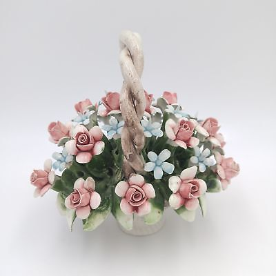 """Vintage Capodimonte Porcelain Basket of Flowers 7""""x 7"""" - Made in Italy"""