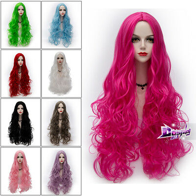 Lolita Party Halloween 80cm Long Curly Party Popular Wig Heat Resistant + Cap
