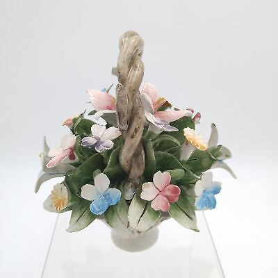 """Vintage Capodimonte Porcelain Basket of Colorful Flowers 6""""x 6"""" #2 - Italy"""