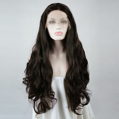 "Heat Resistant Fashion 22"" Long Curly Dark Brown Lace Front Hair Cosplay Wig"