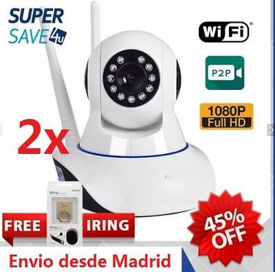 2x HD 1080P Inalámbrica Wifi CCTV Cámara IP Seguridad IR Bebé Video Vigilancia