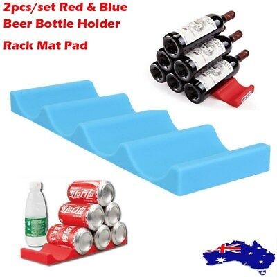 2x Silicone Fridge Can Beer Wine Bottle Rack Holder Mat Stacking Tidy Gadgets AU