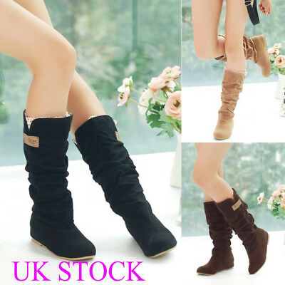 Womens Flat Low Heel Winter Lace Mid-Calf Boots Faux Suede Cuff Slouch Shoes SZ