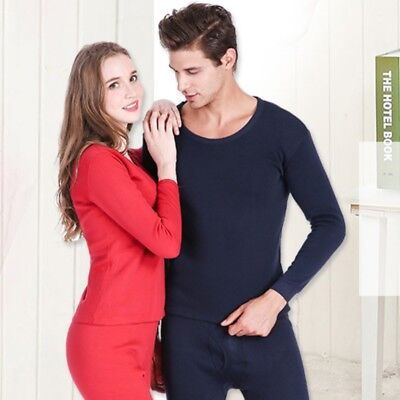 2Pcs Mens Women Winter Warm Thermal Underwear Tops Bottom Long Johns Pants Suit